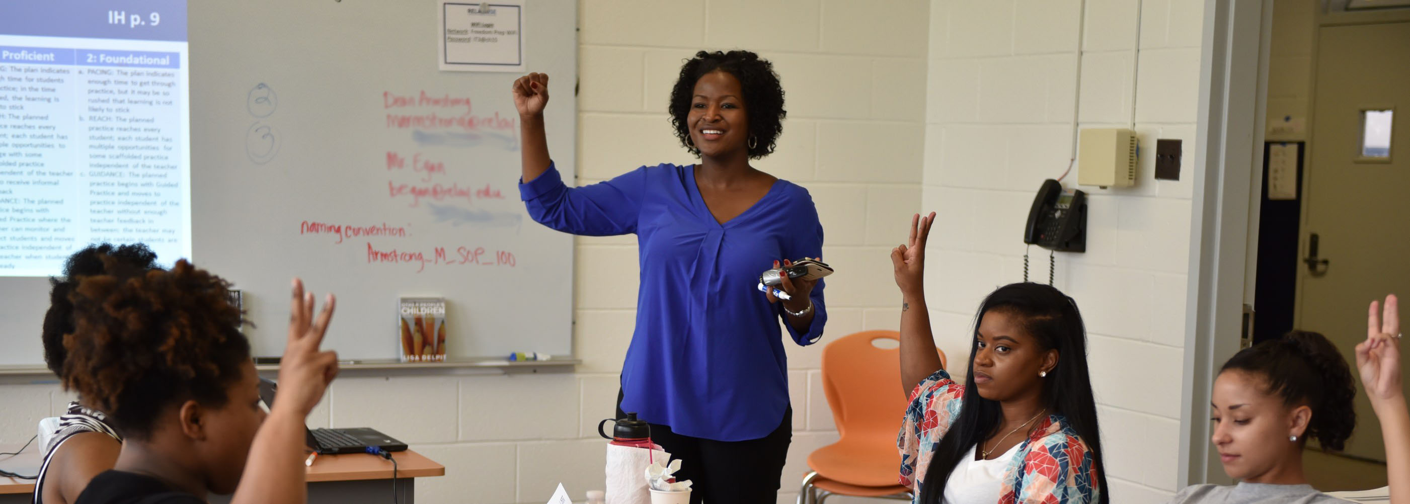 Relay Memphis Dean Michelle Armstrong leads a group of graduate students during summer orientation.