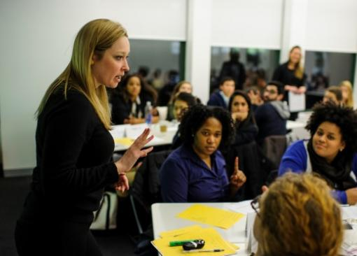 New York professor Annie Ferrel leads students during a workshop.
