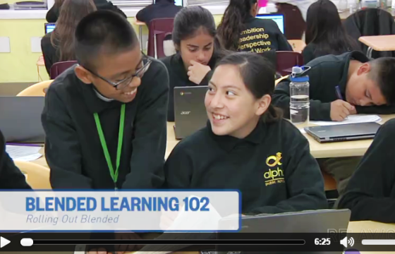 A male and female student work together during a video from Blended Learning 102