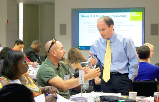 Paul Bambrick-Santoyo guides principals during a Leverage Leadership Institute.