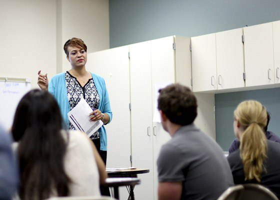 Relay professor teaches a small group of graduate students.