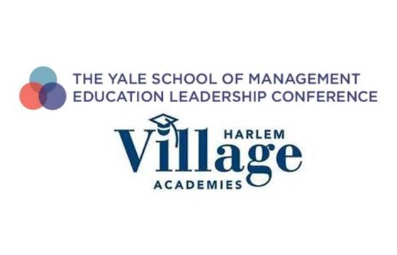 Logos for the Yale School of Management Education Leadership Conference and Harlem Village Academies.